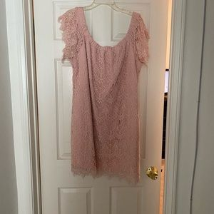 City Chic laced pink champagne party dress